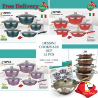 12 PCS DESSINI ITALY Non Stick Cookware Set Cooking Pot Frying Pan ORIGINAL