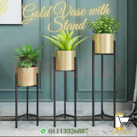 Gold Vase With Stand